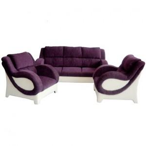 Purple & White Color Queen Sofa Set
