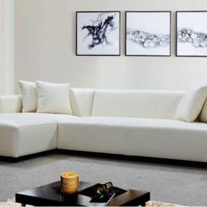 Luxurious White Leather & Fabric Corner Sofas