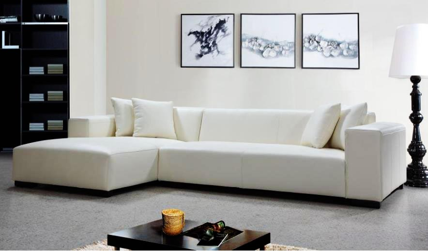 Luxurious White Leather amp Fabric Corner Sofas At