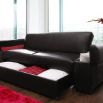 Faux Leather Sofa Bed with Storage