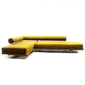 yellow transforming l shaped sofa