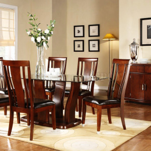 dining-room-cherry-finish-glass-top-modern-dining-table-with-optional-items-glass-top-dining-room-sets