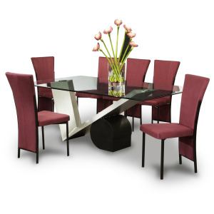 Modern dining table with 6 chairs
