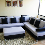 White, Blue and Black Color Corner Sofa Set