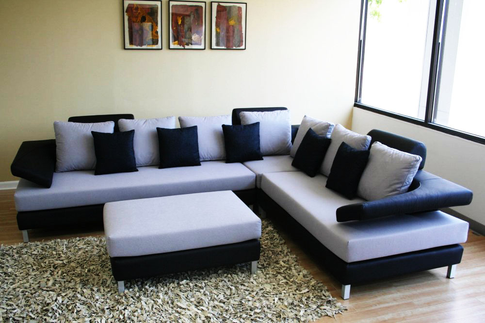 White Blue And Black Color Corner Sofa In Mumbai At OnlineSofaDesign